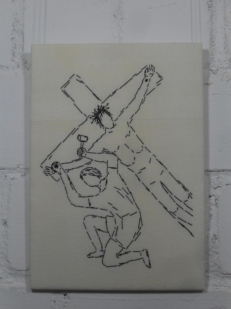 11. Station: Jesus wird an das Kreuz genagelt.